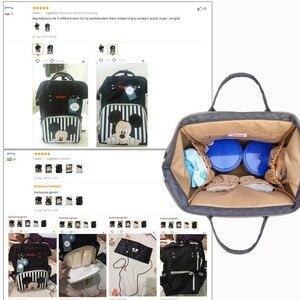 Image 3 - Disney USB bebek bezi çantası bebek bakım çantaları şişe isıtıcı mumya sırt çantası anne Minnie Mickey Bolsa analık sırt çantası çanta yeni 2020