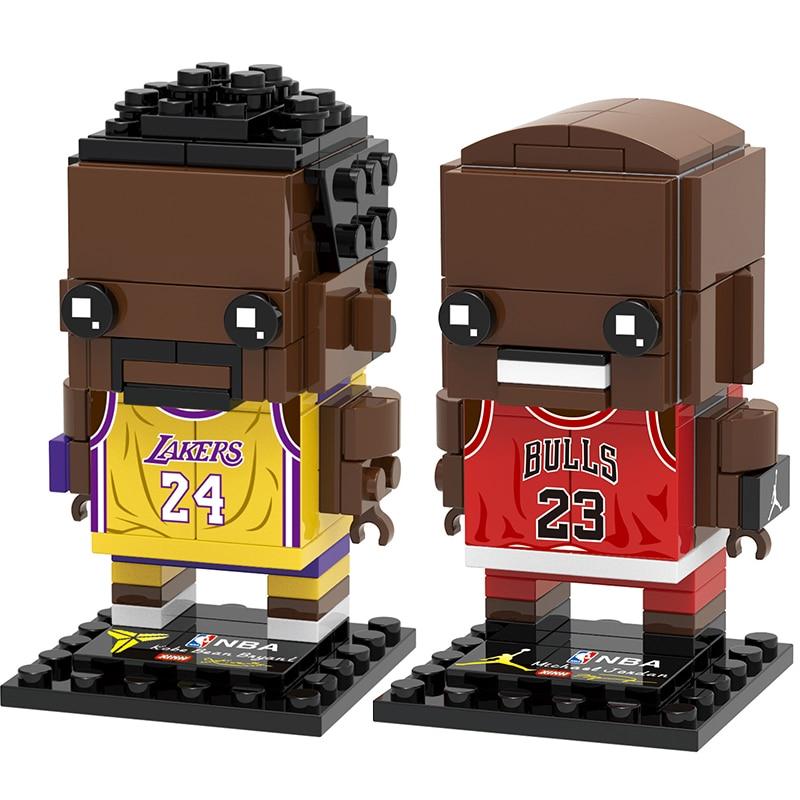 Moc Sports Basketball Star Kobe Brick Heads Figures Compatible Lepining Brickheadz Building Blocks Toys For Children