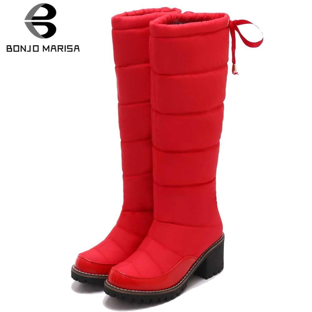 BONJOMARISA 34-42 Zarif Kış Su Geçirmez orta buzağı Kar Botları Kadın 2019 Yüksek Topuklu Sıcak Peluş Çizmeler platform ayakkabılar kadın