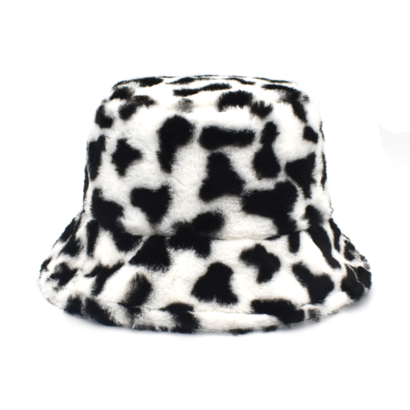 Winter Outdoor Vacation Lady Panama Black Solid Thickened Soft Warm Fishing Cap Faux Fur Rabbit Bucket Hat Women Hairy leopard 10