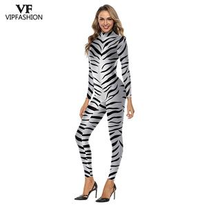 Image 5 - VIP FASHION 3D Animal Leopard Print Pattern Halloween Cosplay Costume For Women Purim Festival Bodysuits Jumpsuits