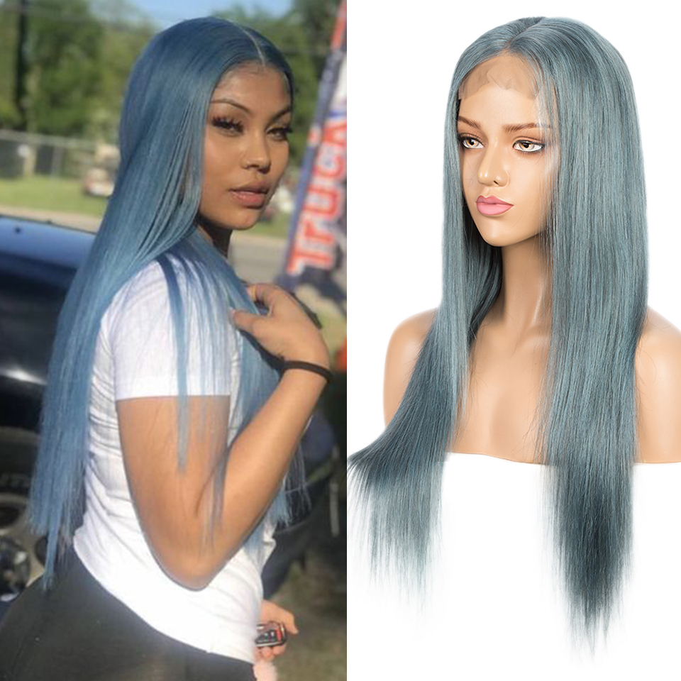 Remy Forte 4X4 Closure Human Hair Wigs Baby Blue Straight Brazilian Lace Wig Pre Plucked With Baby Hair 10-22 Inch Short Wigs