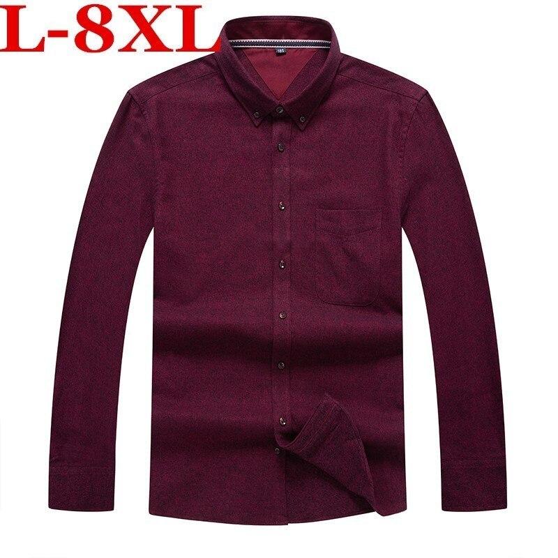 Plus Size 8XL 7XL  Men Casual Long Sleeved  Shirt  Slim Fit Male Social Business Dress Shirt Brand Men Clothing Soft Comfortable