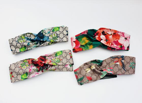 Women Headband Hair-Accessories Twist-Turban Silk Satin Floral-Print Elastic Butterflies