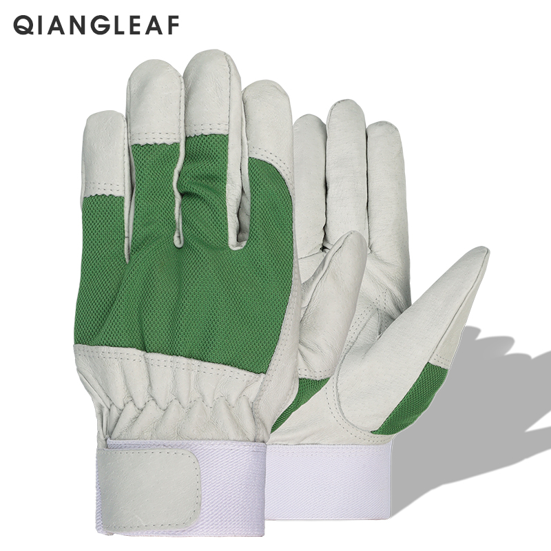 QIANGLEAF Best Selling Products Mechanic Work Glove Leather Garden Coat Heavy Industrial Tool Gloves 505Green