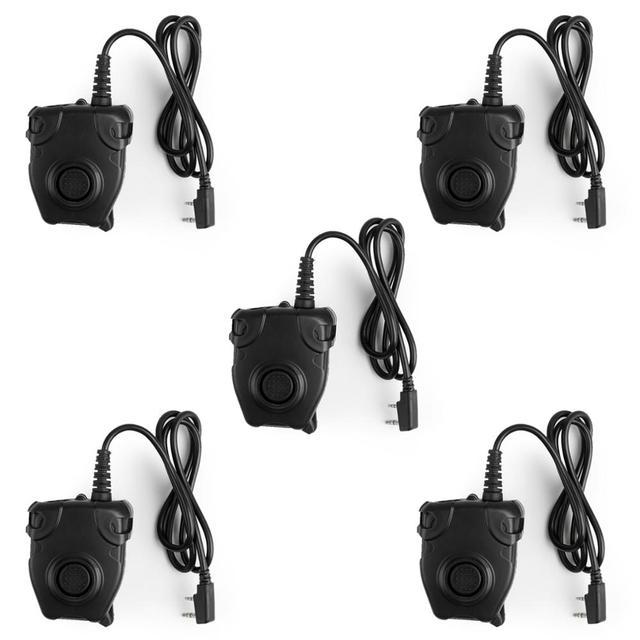 Artudatech 5Pcs Z Tactical Peltor PTT Headset For TYT-F8 TG-K4AT TK3107 BF5118  Walkie Talkie