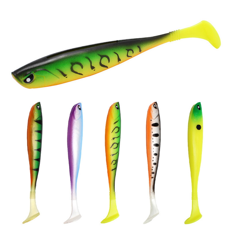 T Tail 10g//12.5cm Artificial  Worm Fishing Lures Soft Bait Swimbait Silicone