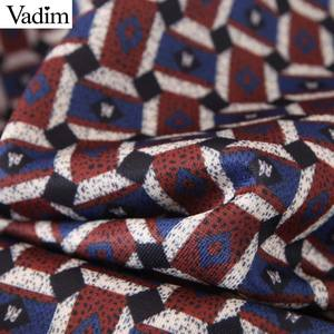 Image 4 - Vadim women chic oversized print blouse lantern sleeve vintage shirt female stylish office wear chic tops blusas LB792