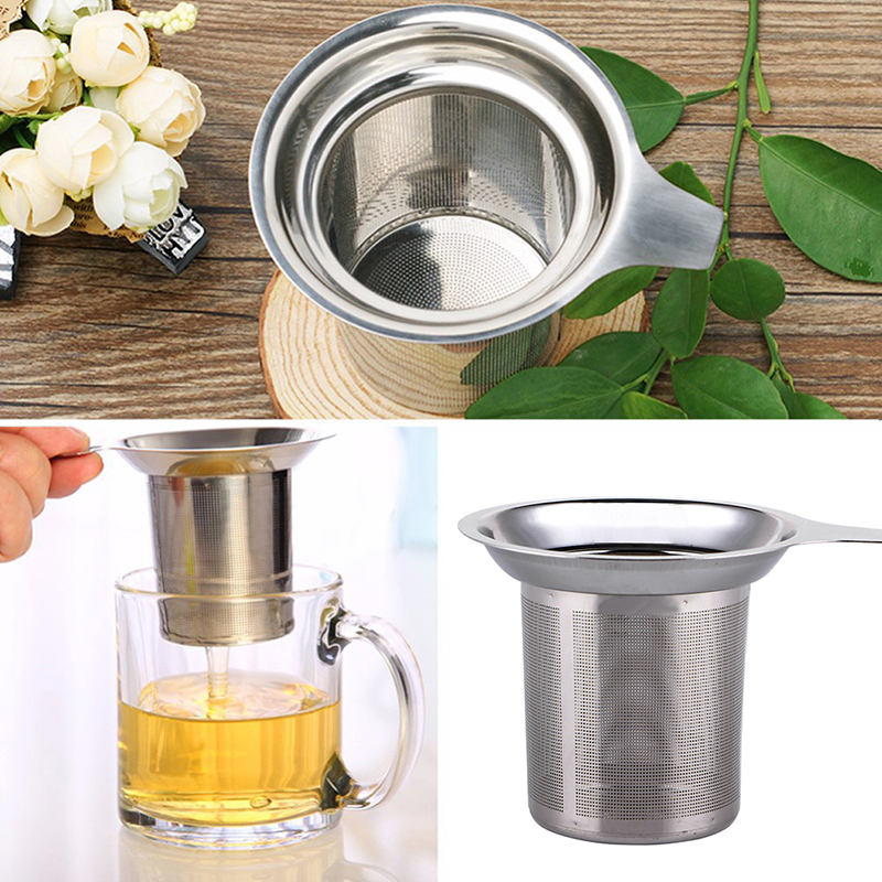 1pcs High Capacity Tea Strainer Stainless Steel Tea Leaf Infuser Coffee Grounds Filter Mesh Practical Home Kitchen Accessories