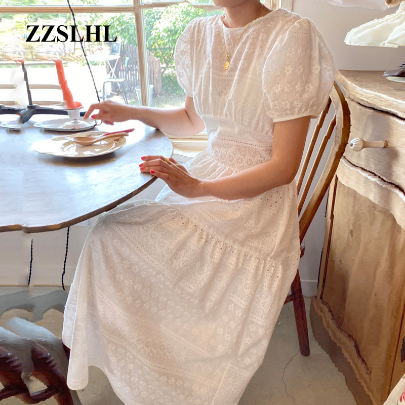 Sexy Backless Bow White Cotton Crochet Hollow Out Dress Women Puff Sleeve Embroidery Jacquard Midi Dress 2020 New Summer