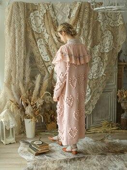 Зимние женские осенние винтажные Ультра свободные розовые длинные свитера Mori Girls ручной работы из шерсти с вышивкой в виде шариков, пальто б