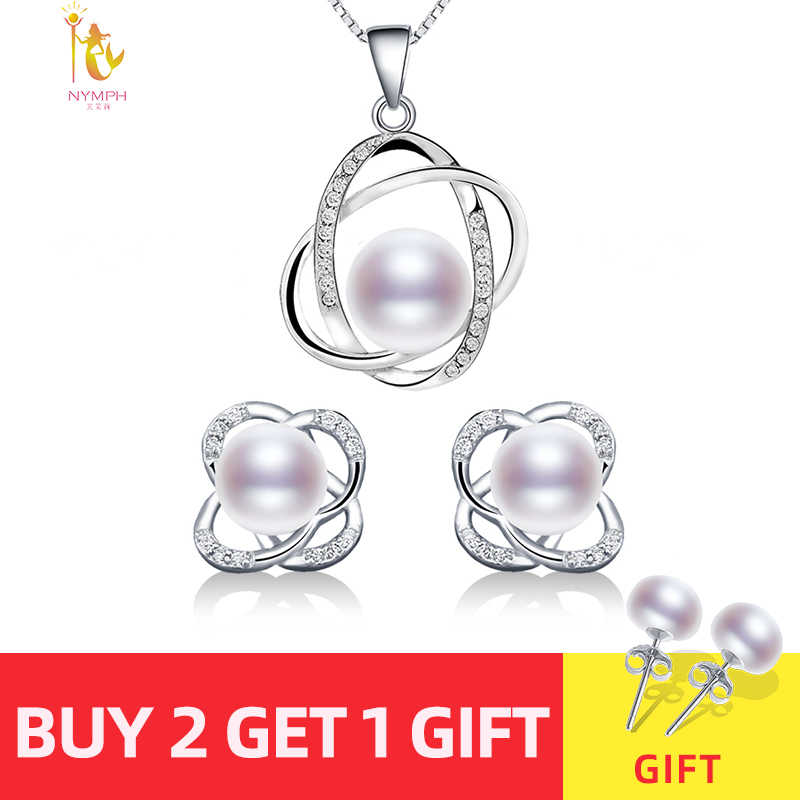 NYMPH Wedding Pearl Jewelry Sets Natural FreshWater Pearl Necklace Pendant Earrings Fine Trendy Party Gift Girl Women RoseT202