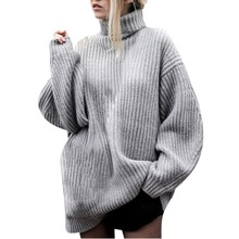 Knitted Sweater Women 2019 Lady Winter Autumn Turtleneck Long Sleeve Loose Warm Sweaters Dresses Jumper Pull Femme or22