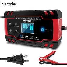 Carregador de bateria 12v 24v 8a pulso reparação display lcd inteligente carga rápida agm ciclo profundo gel chumbo-ácido carregador de bateria de carro automático