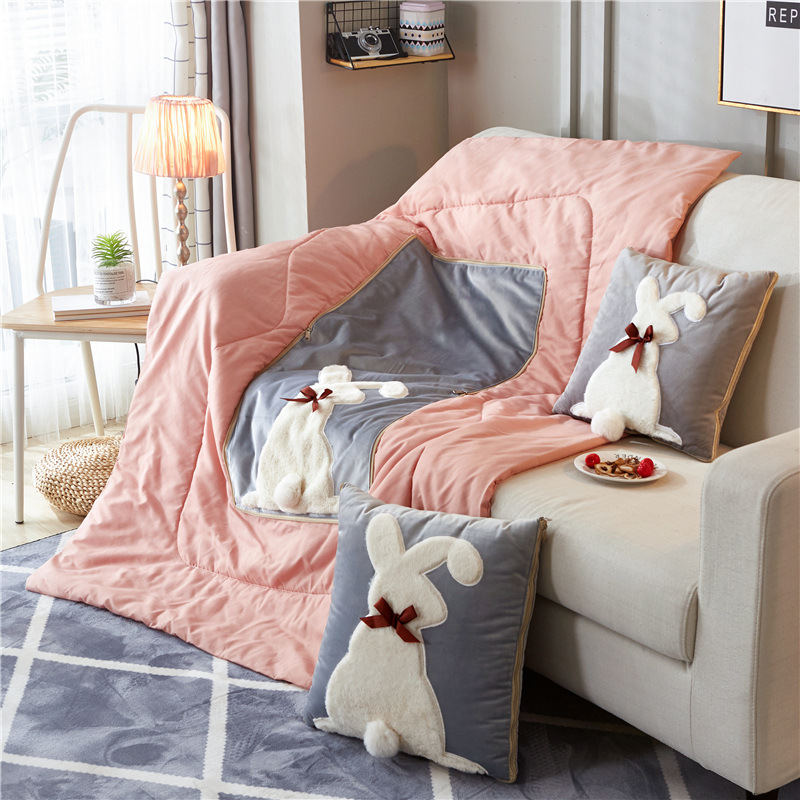 Cartoon Plush Pillow Quilt High Quality Embroidered Pillow By Office Sofa Dual-use Cushion Quilt Multi-function Car Cushion
