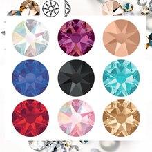Sw diamante hotfix cz strass 8grande 8 pequeno ferro no strass ss10 ssss40 diy strass de volta plana para decoração de roupas de vestuário