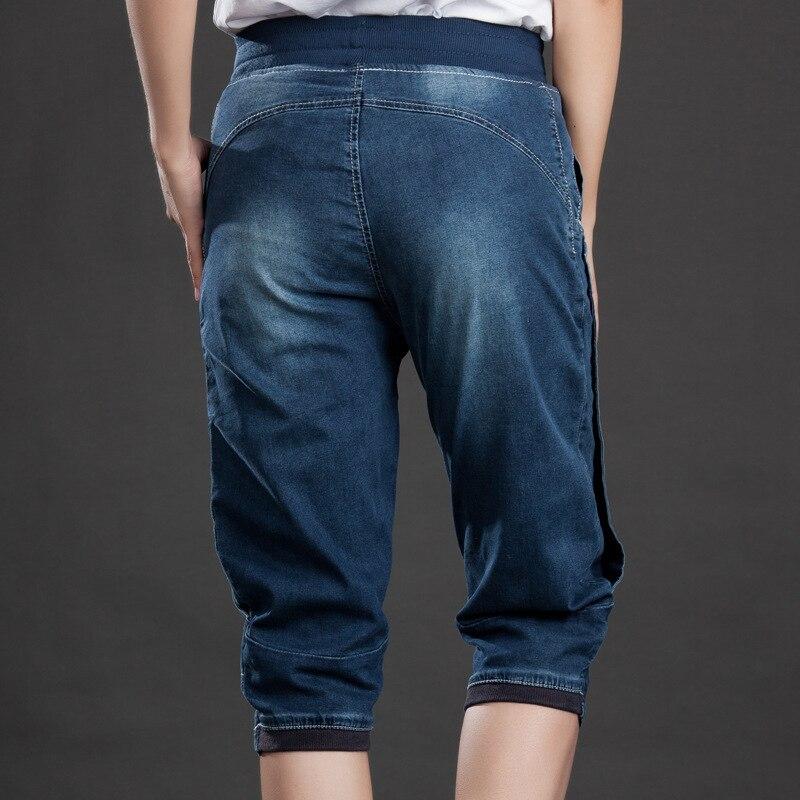 Plus Size 5XL Jeans Women Summer Stretch Loose Fit Denim Baggy Pants Elastic Waist Drawstring Casual Calf Length Trousers Female