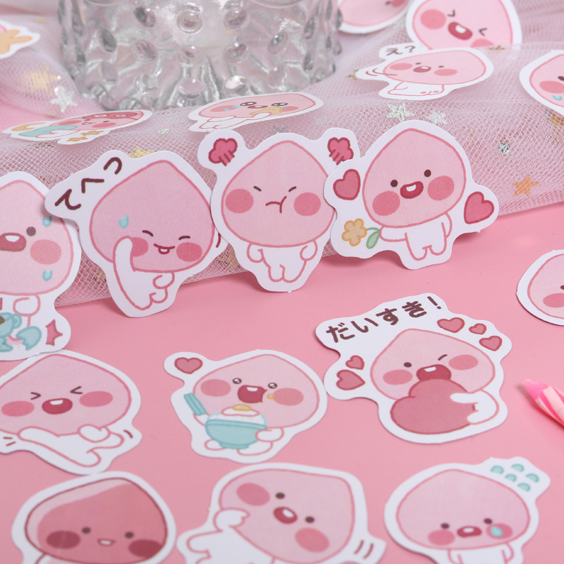 44Pcs/Pack Pink Peach Sticky Stickers Decoracion Boxed Scrapbook Office Stationery School Supplies