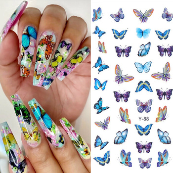 цена на 3D colorful butterfly nail stickers decorative nail art transfer decal DIY butterfly nail stickers nail decoration