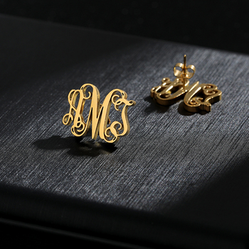 Custom Letters Stud Earrings Monogram Stud Earings Fashion Jewelry Gold stainless steel Name boucle d'oreille femme 2019 enfashion double cirlce line earrings gold color earings stainless steel stud earrings for women fashion jewelry oorbellen