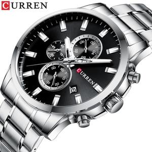 Image 1 - CURREN Relojes de pulsera con cronógrafo de cuarzo para hombre, Reloj de negocios informal, de acero inoxidable, con fecha, multifunción