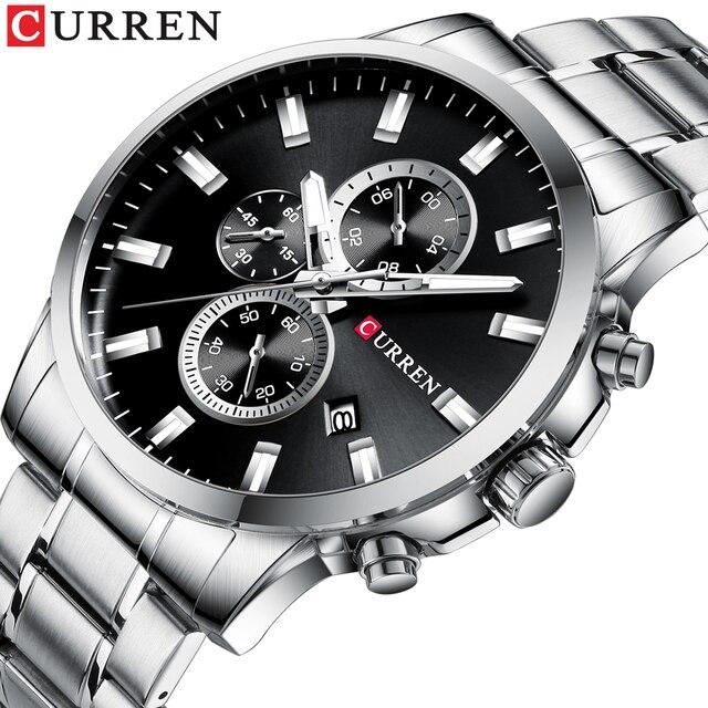 CURREN Relojes de pulsera con cronógrafo de cuarzo para hombre, Reloj de negocios informal, de acero inoxidable, con fecha, multifunción