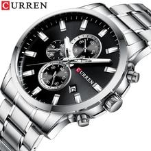 CURREN moda męska kwarcowy z chronografem na rękę Casual zegarek biznesowy zegar ze stali nierdzewnej mężczyzna data Reloj multifuncion