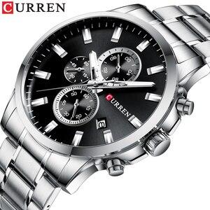Image 1 - CURREN mode hommes Quartz chronographe montres décontracté montre daffaires en acier inoxydable horloge mâle Date Reloj multifuncion