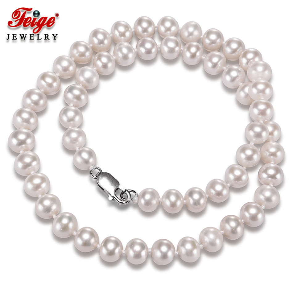 Fine Jewelry 925 Silver Clasp Women Pearl Necklace Gifts 8-9MM Natural Freshwater Pearl Necklace Trendy Wedding Jewelry FEIGE