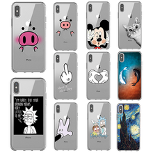 Alta qualidade TPU Transparente Saco Funda para iPhone 6 6s Plus 7 8 Plus X Xs Max XR 5 5S SI Caso Mickey Minnie Caso Macio(China)