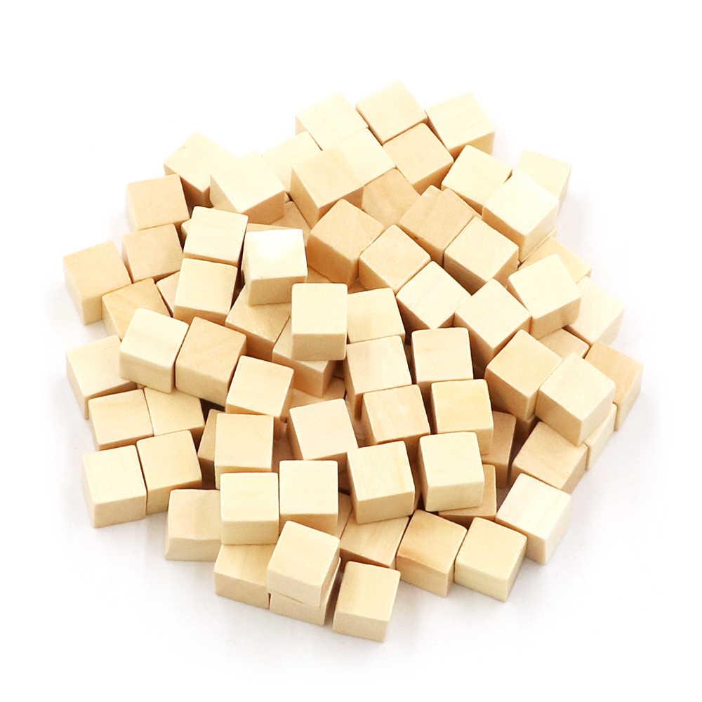 100 יח'\סט עץ קוביות בלוקים ריק קוביות חוץ סחר מוצרים חדשים 10mm כיכר פינת צבע לוח משחק קוביות מוקדם חינוך