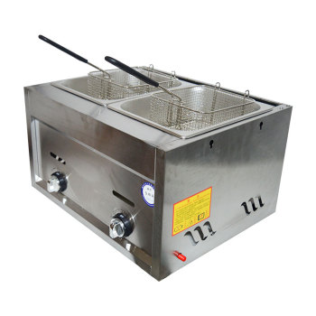Gas Type Fryer with Strainer Non-Stick Cooking Surface Stainless Steel Deep Fryer for Chicken Snack French Fries Frying Machine multifunction 12 l deep fryer electric commercial stainless steel potato chicken food deep frying machine zf