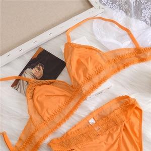 Wriufred confortable bralette sans fil éponge doux triangle tasse soutien-gorge ensembles creux maille ensemble de sous-vêtements sexy dentelle femmes lingerie