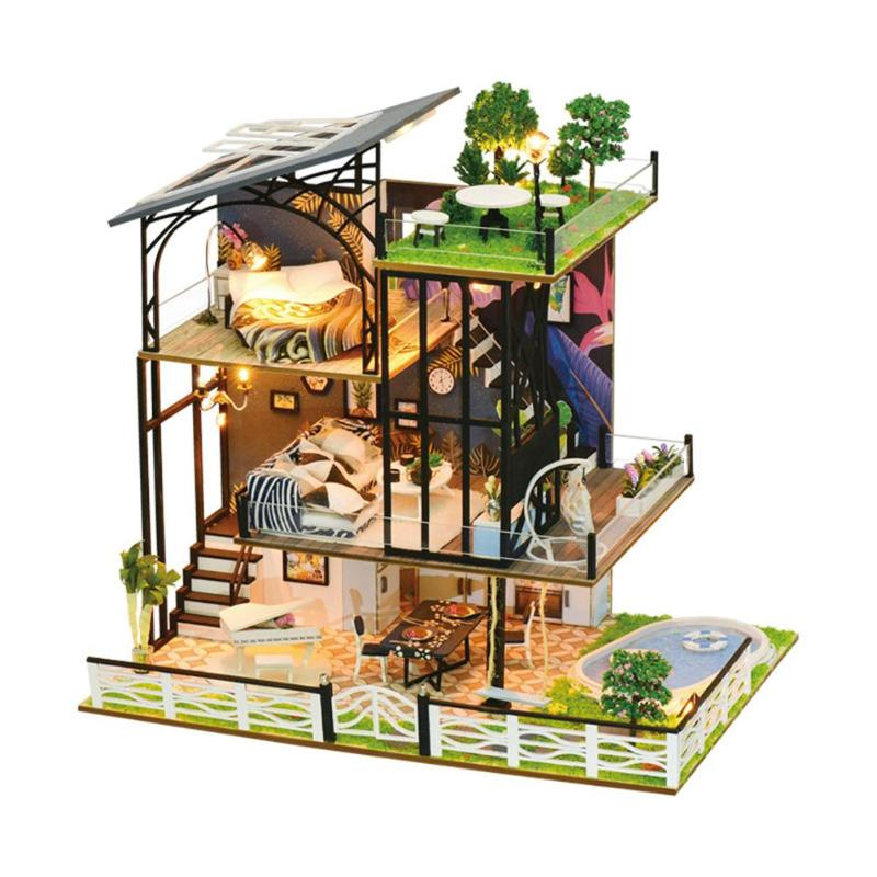 DIY Mini Doll House Simulation 3D Wooden Dollhouse Villa Kids Puzzle Toys