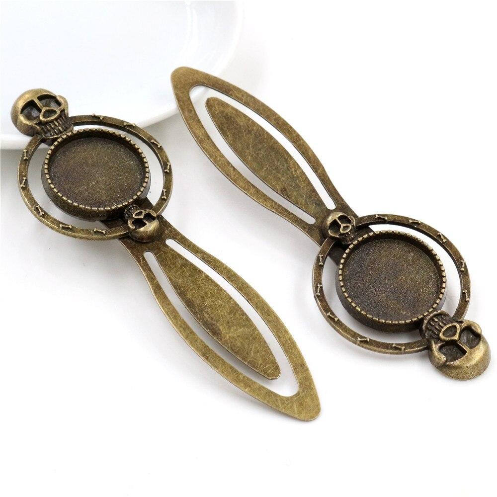New Fashion 2pcs 18mm Inner Size Antique Bronze Vintage Style Handmade Bookmark Cabochon Base  Cameo Setting