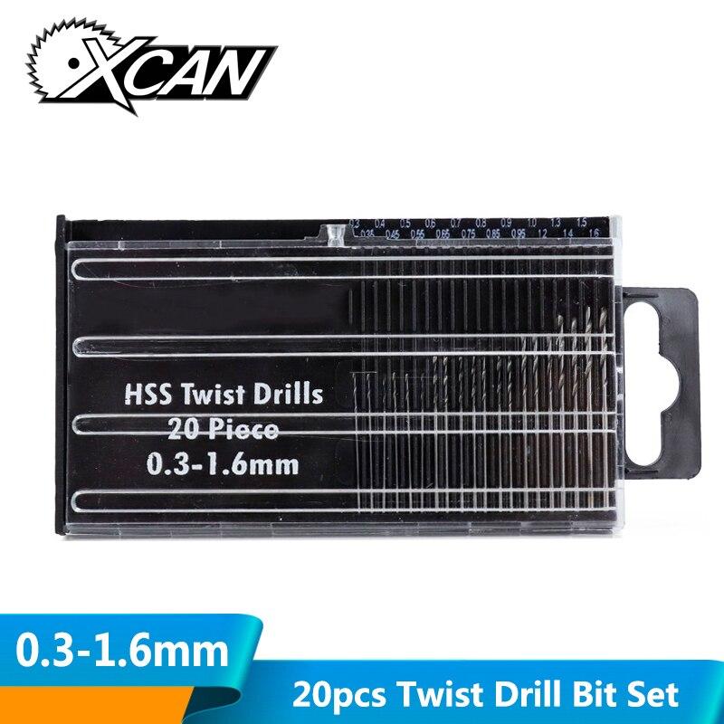 XCAN 20pcs 0.3-1.6mm Twist Drill Bit Set High Speed Steel DIY Mini Drill Bit