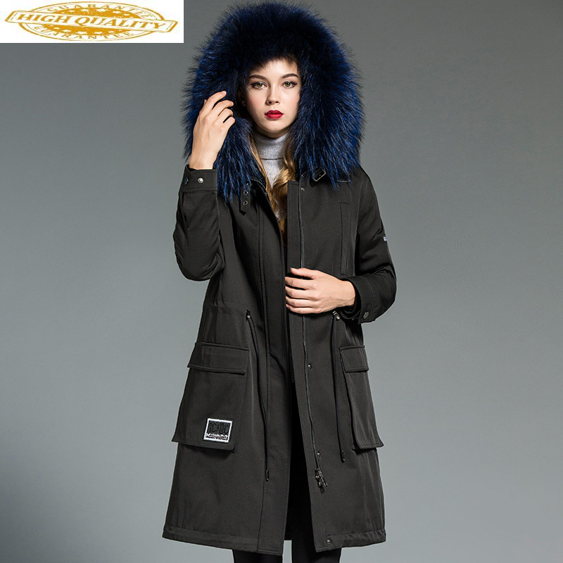 Luxury Women's Fur Coat Female Natural Rabbit Fur Liner Parka Winter Jacket Women Raccoon Fur Collar Long Coats MY3499