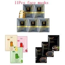 11Pcs mixed 24K Gold mask fruit black rice beans Collagen Face Mask Moisturizing Whitening Anti-Aging Facial Masks skin care