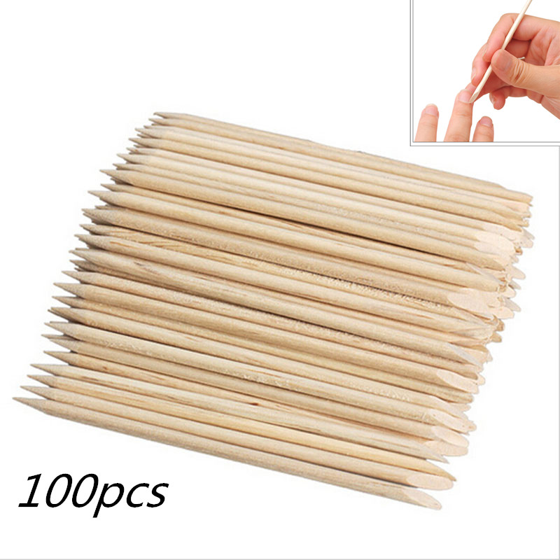 100pcs Nail Art Wood Stick Cuticle Pusher Remover fast Spade Shape Sharp Tip Two-End for Pedicure Manicures Nails Care Tool