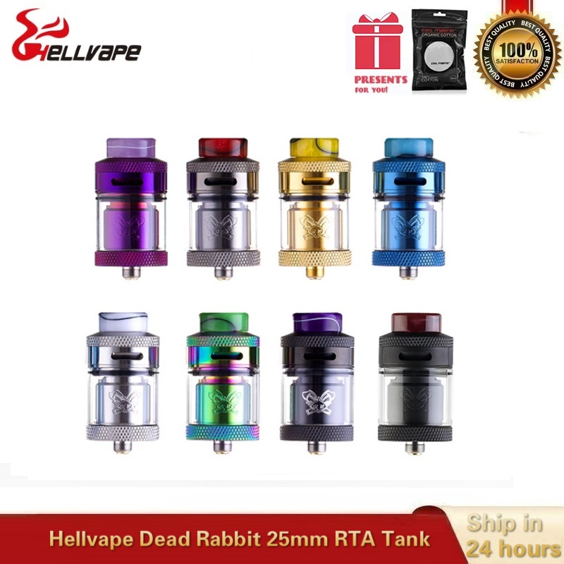 Hellvape Dead Rabbit 25mm RTA Vape Tank 4.5ML Atomizer With Resin Driptip Single Dual Coil Rebuild Vaper Vaporizer Vs Drop Dead