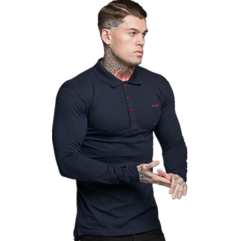 Top Grade New Fashion Brands Polo Shirt Mens Solid Color Long Sleeve Slim Fit Boys Korean Poloshirt Casual Golf Men Clothing