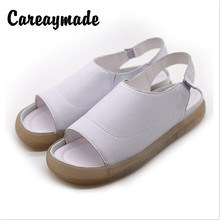 Careaymade-New Cowhide Flat-heeled Leaky-toed Fish-mouth Shallow-mouthed Womens Sandals  Leisure Light Soft-soled
