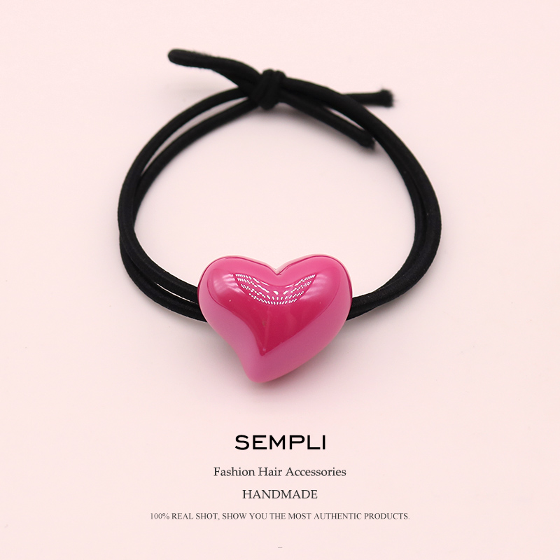 Sempli 7 Candy Colors Resin Love Heart Nylon High Elasticity Rubber Band Hair Band Children Hair Headband Accessories Scrunchie