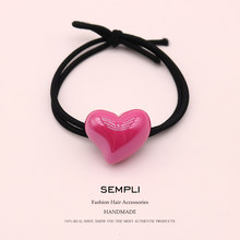 Sempli 7 Candy Colors Resin Love Heart Nylon High Elasticity Rubber Band Hair Band Children Hair headband Accessories Scrunchie(China)