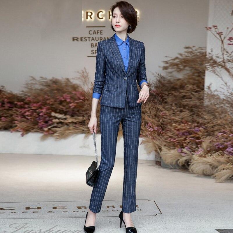 High quality professional women's pants suits 2019 autumn new slim striped blazer Trendy office suit two-piece suit Work clothes