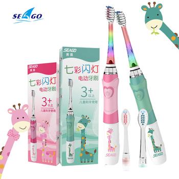 Seago elektryczna szczoteczka do zębów dla dzieci kolorowe diody LED latarka 16000 uderzeń częstotliwości Dupont włosia 2 głowice czas Sonic wibracji tanie i dobre opinie CN (pochodzenie) 1 Brush Handle+2 Replacement Heads Electric Toothbrush Z falą akustyczną Seago Kids Sonic Toothbrush 677