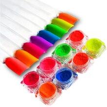 8Pcs Neon Phosphor Pigment Powder Set Fluorescent Nail Glitt