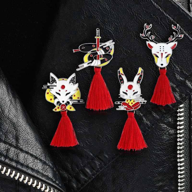 Vintage zwierząt Alloy Tassel broszka japoński Ninja królik ogień Fox wąż Kendo Sika Deer emalia Pin plecak odznaka prezenty dla przyjaciół