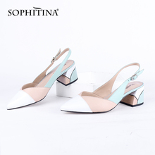 SOPHITINA Summer Sandals Women Genuine Leather Tricolor Heels Pointed Toe Fashio