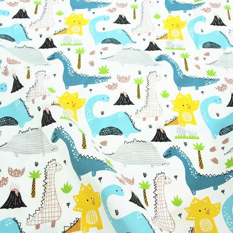 Dinozaury drukowane 100% tkanina bawełniana do wyrobu sukienki poduszki koc do szycia dziecko dziecko prześcieradło tekstylne